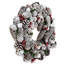 Corona di Natale bianca pigne e agrifoglio 33 cm s4
