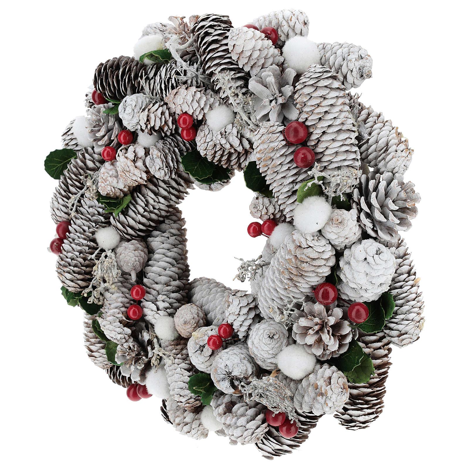 Coroa de Natal branca pinhas e azevinho 33 cm 3