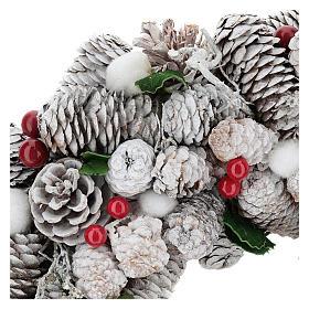 Coroa de Natal branca pinhas e azevinho 33 cm s2