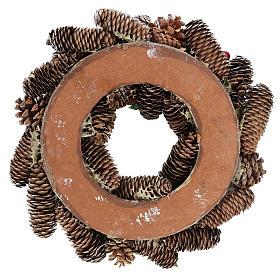 Coroa de Natal branca pinhas e azevinho 33 cm s5