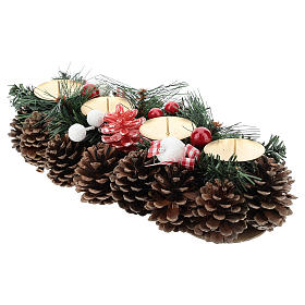 Christmas table decoration with pine cones and candle base 30 cm s3