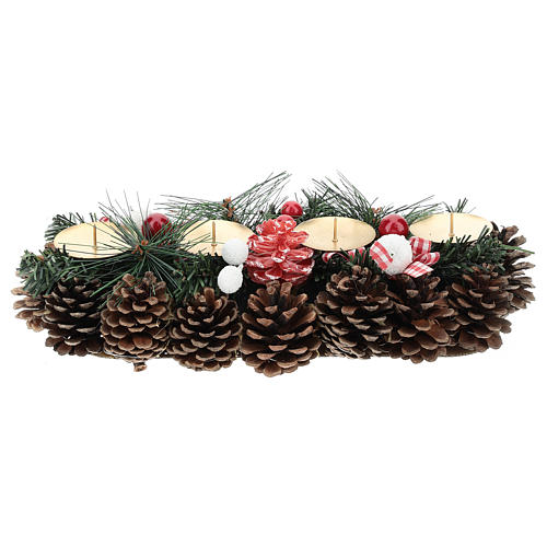 Christmas table decoration with pine cones and candle base 30 cm 1