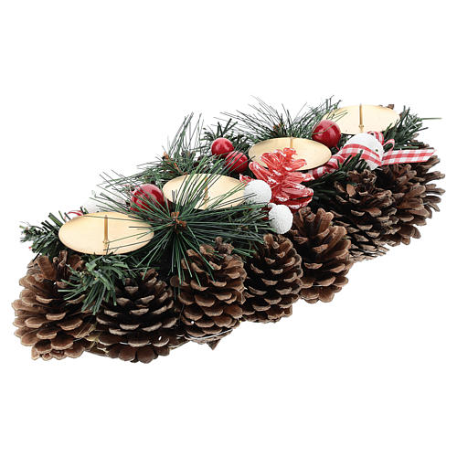 Christmas table decoration with pine cones and candle base 30 cm 4