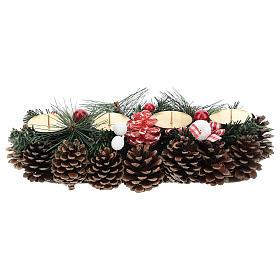 Centre de table Noël avec piques et pommes de pin 30 cm s1