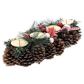 Centre de table Noël avec piques et pommes de pin 30 cm s4