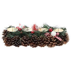 Centre de table Noël avec piques et pommes de pin 30 cm s5