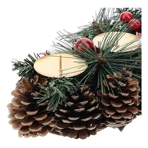 Centre de table Noël avec piques et pommes de pin 30 cm 2
