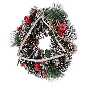 Couronne Noël branches en triangle 32 cm s3