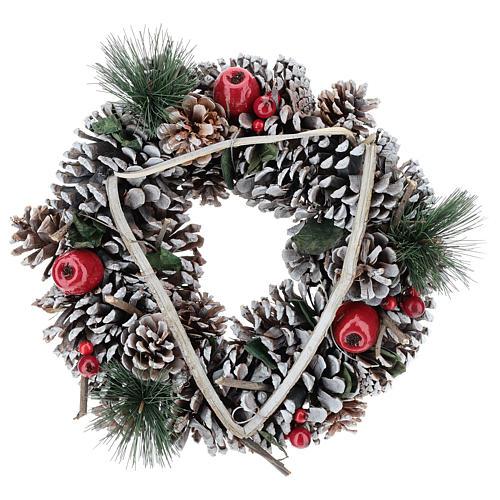Couronne Noël branches en triangle 32 cm 1