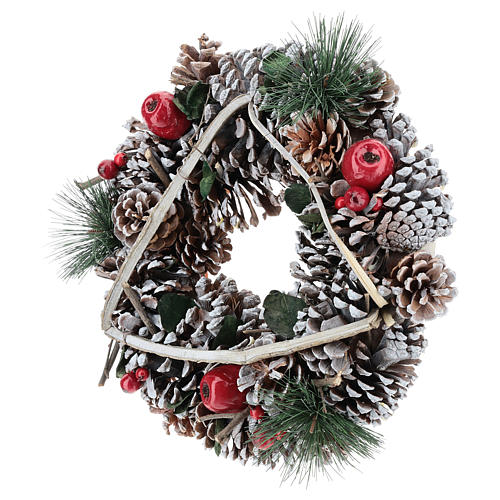 Couronne Noël branches en triangle 32 cm 3