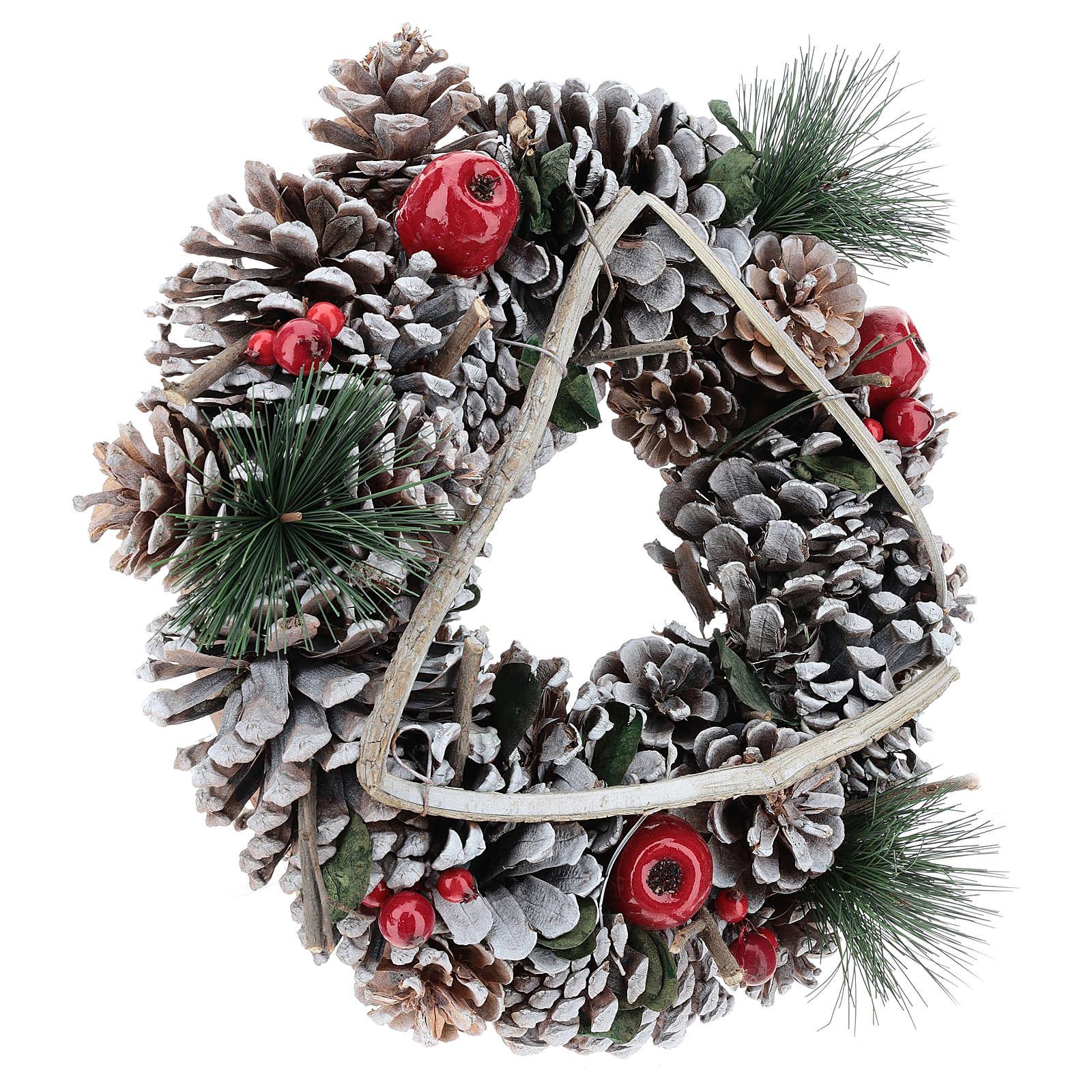 Coroa Natal galhos em triângulo 32 cm 3