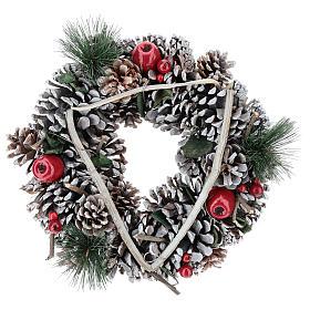 Enfeites de Natal para a Casa: Coroa Natal galhos em triângulo 32 cm