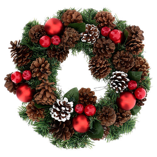 Christmas wreath with red pinecones and leaves diam. 32 cm 1