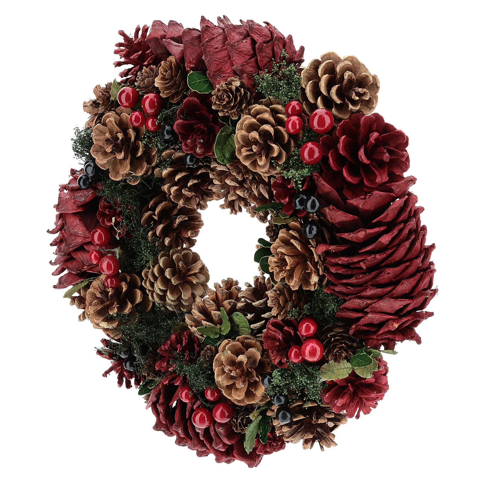 Corona decorada Navidad piñas rojas y hojas 32 cm 3