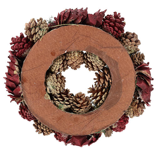 Corona decorada Navidad piñas rojas y hojas 32 cm 5
