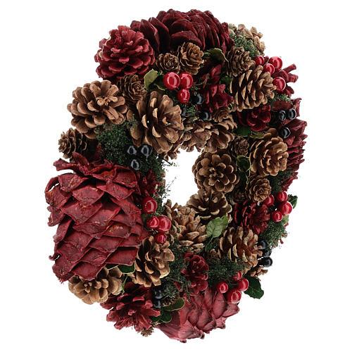 Couronne décorée Noël pommes de pin rouges et feuilles 32 cm 4