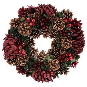 Enfeites de Natal para a Casa: Coroa decorada Natal pinhas vermelhas e folhas 32 cm