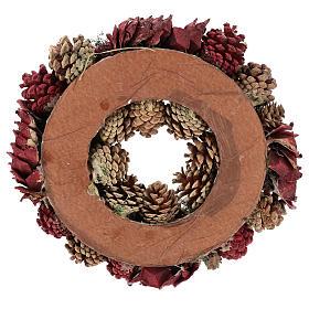 Coroa decorada Natal pinhas vermelhas e folhas 32 cm s5