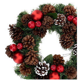 Coroa decorada Natal pinhas vermelhas e folhas 32 cm s2