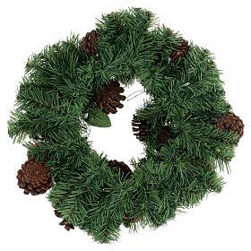 Coroa decorada Natal pinhas vermelhas e folhas 32 cm s4