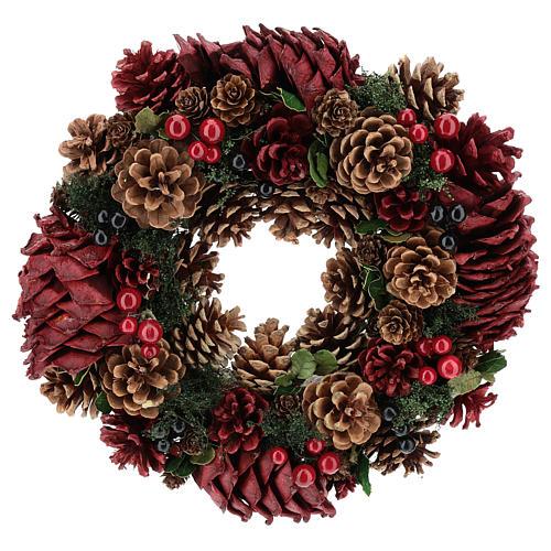 Coroa decorada Natal pinhas vermelhas e folhas 32 cm 1