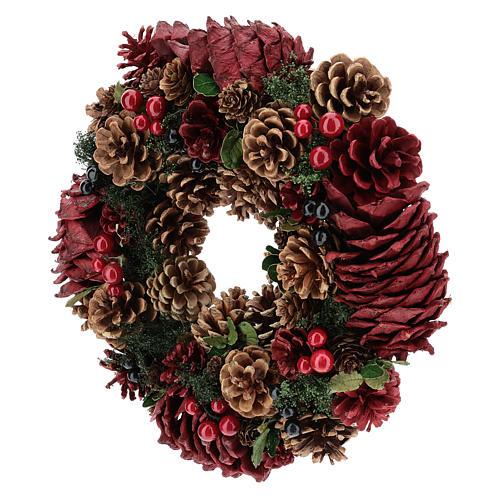 Coroa decorada Natal pinhas vermelhas e folhas 32 cm 3