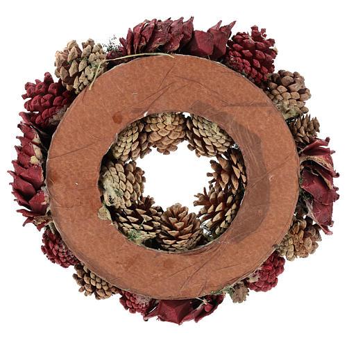 Coroa decorada Natal pinhas vermelhas e folhas 32 cm 5