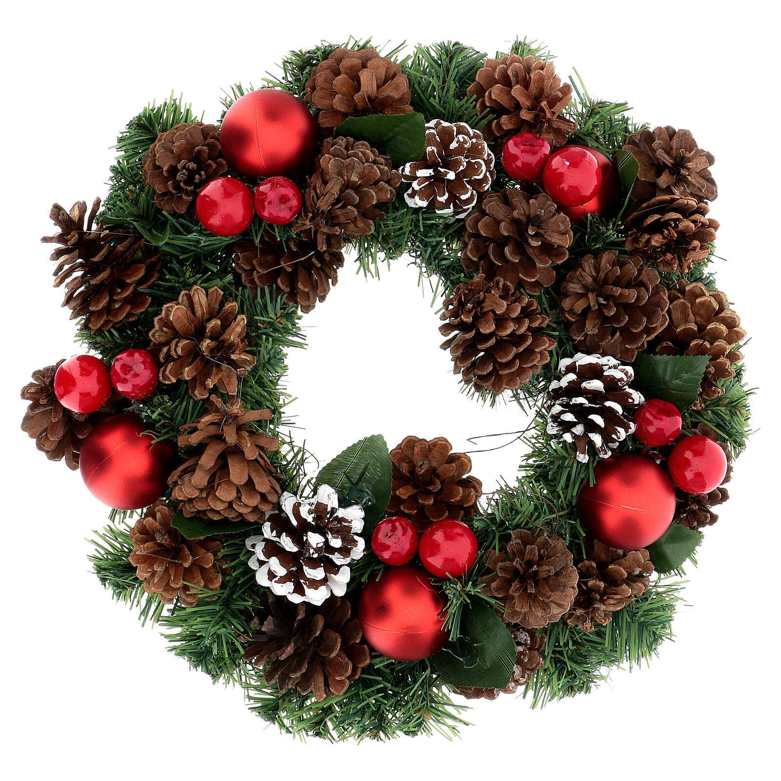 Christmas wreath decorated red pine cones and leaflets 32 cm 3
