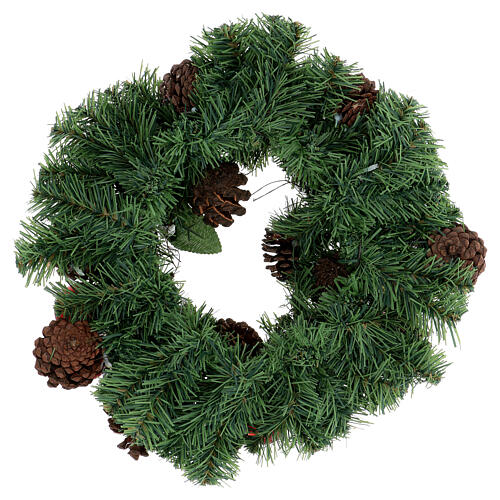 Christmas wreath decorated red pine cones and leaflets 32 cm 4