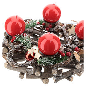 Advent wreath complete kit with crisscrossed twigs and red candles s3