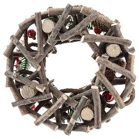 Advent wreath complete kit with crisscrossed twigs and red candles s5
