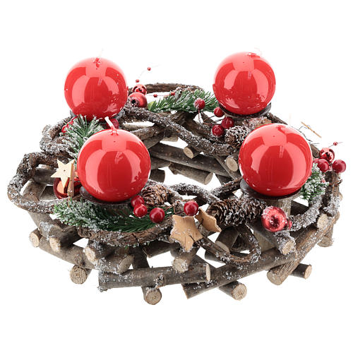 Advent wreath complete kit with crisscrossed twigs and red candles 1