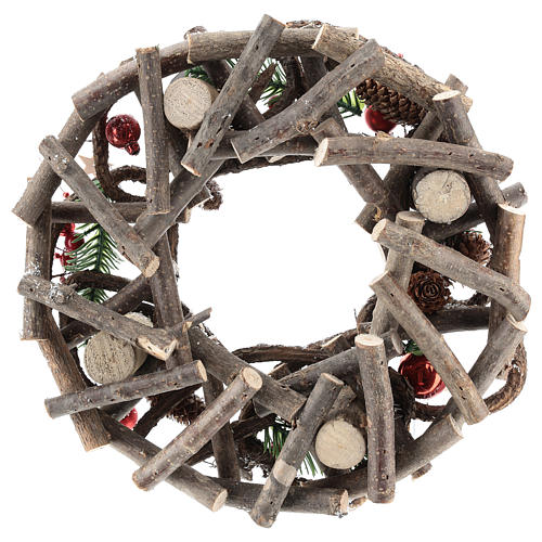 Advent wreath complete kit with crisscrossed twigs and red candles 5