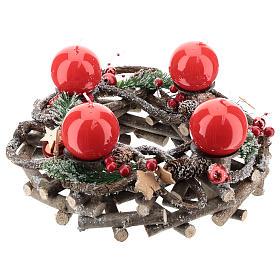 Kit Advento coroa galhos entrelaçados velas vermelhas s1