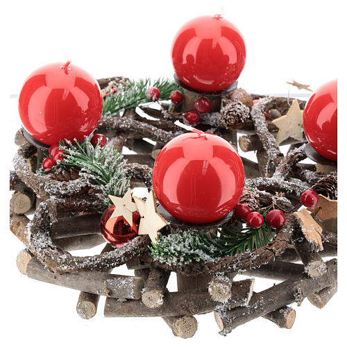 Kit Advento coroa galhos entrelaçados velas vermelhas 3