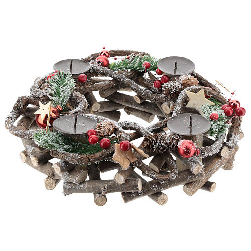 Intertwined branches advent wreath with red candles 2