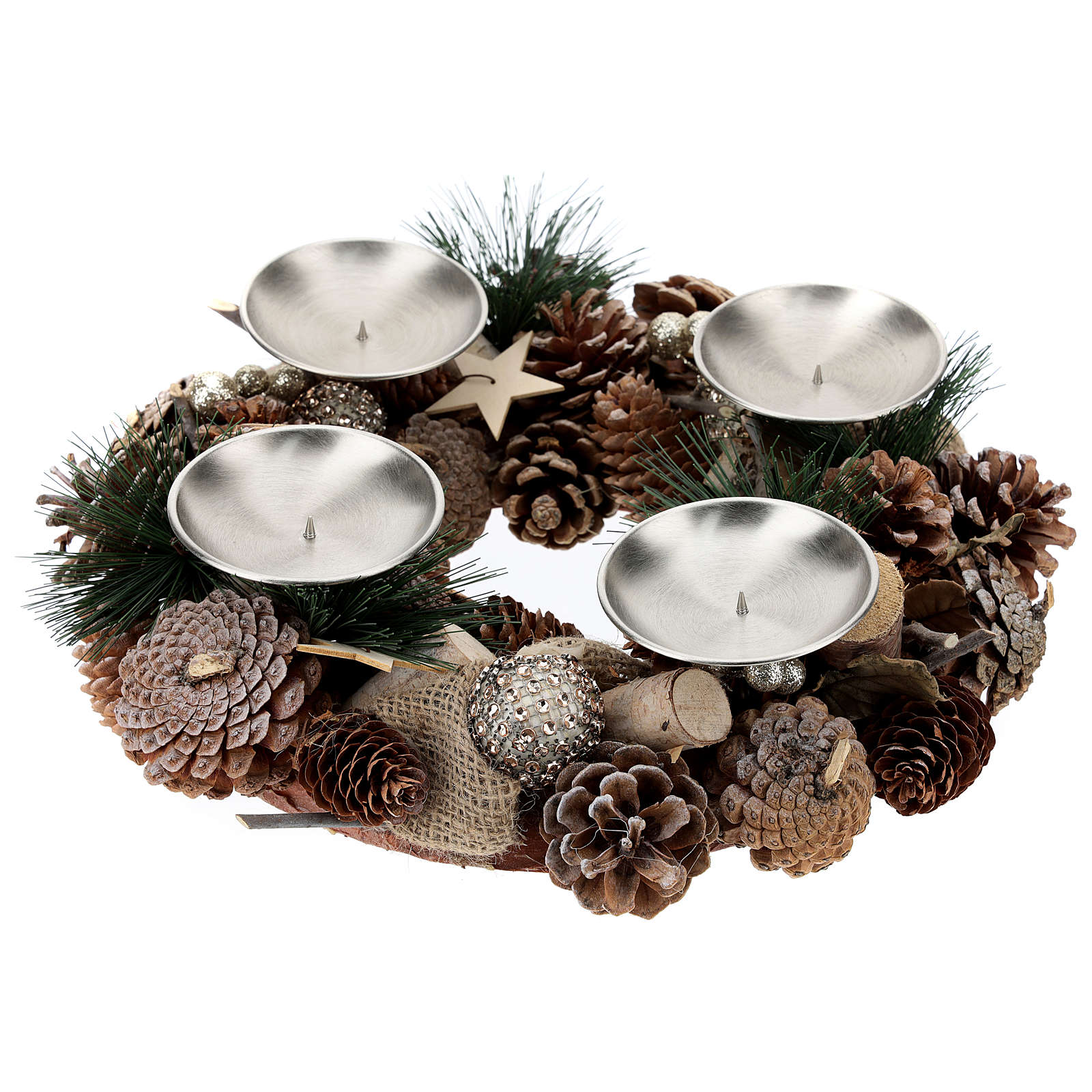 Advent kit wreath, pine cones, spikes, gold candles 3