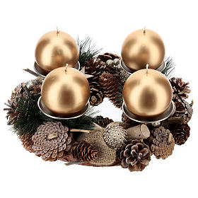 Advent kit wreath, pine cones, spikes, gold candles s1