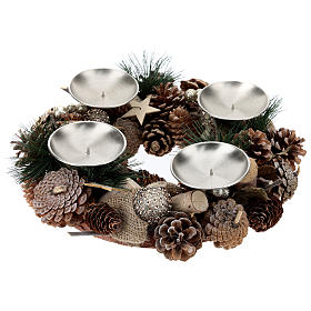 Complete Advent kit wreath, pine cones, spikes, gold candles s3
