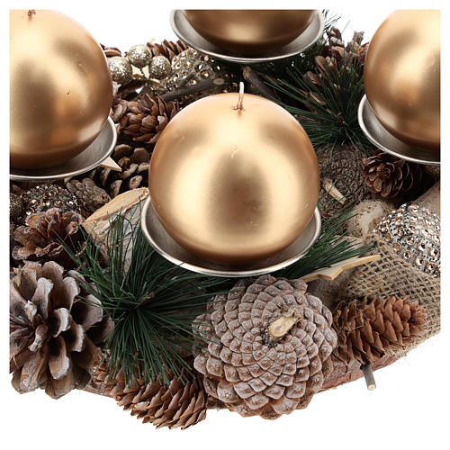 Complete Advent kit wreath, pine cones, spikes, gold candles 2