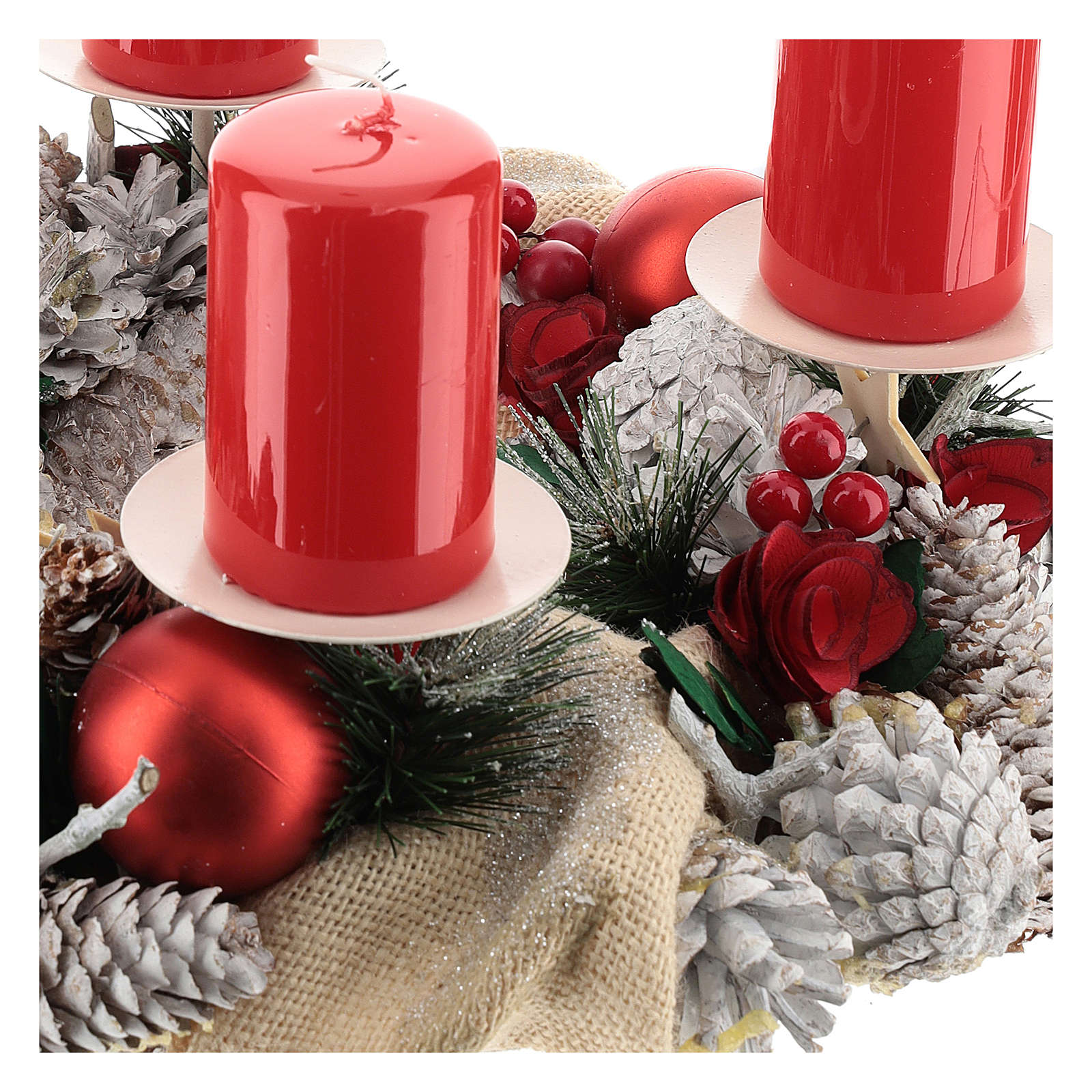Advent wreath complete kit with fake snow, red berries, white candle holders and red candles 3