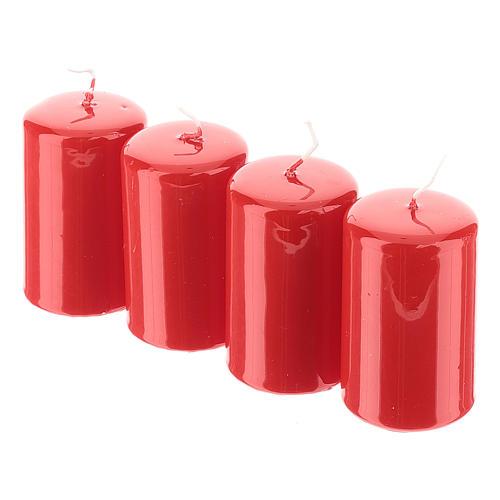 Kit adviento corona navideña nevada bayas rojas puntas blancas velas rojas 4