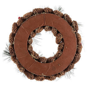 Advent wreath complete kit with pine cones, candle holder and 4 red candles s5
