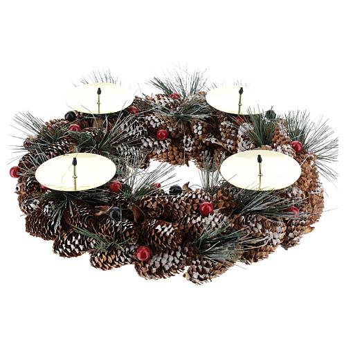 Kit adviento corona pon piñas velas rojas punzones 2