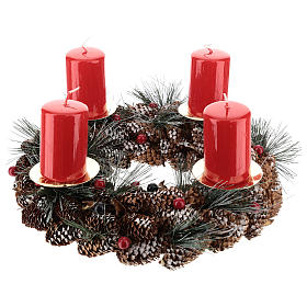 Kit avent couronne avec pommes de pin piques dorés et 4 bougies rouges s1