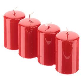 Kit avent couronne avec pommes de pin piques dorés et 4 bougies rouges s4