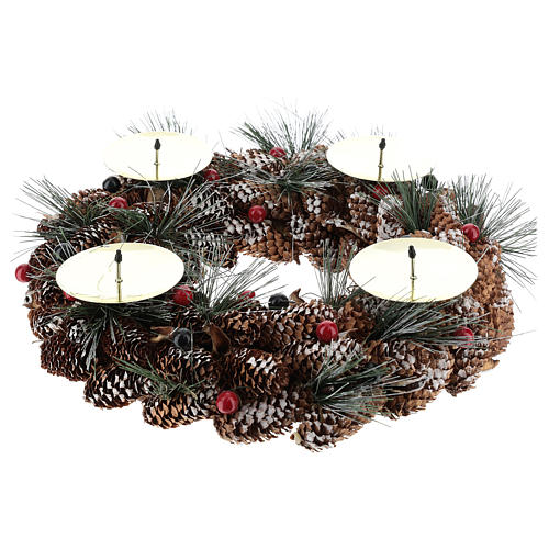 Kit avent couronne avec pommes de pin piques dorés et 4 bougies rouges 2
