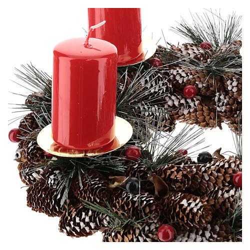 Kit avent couronne avec pommes de pin piques dorés et 4 bougies rouges 3