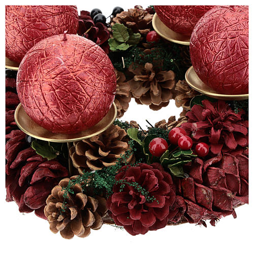 Kit for Advent wreath with red pine cones gold satin spikes candles 3