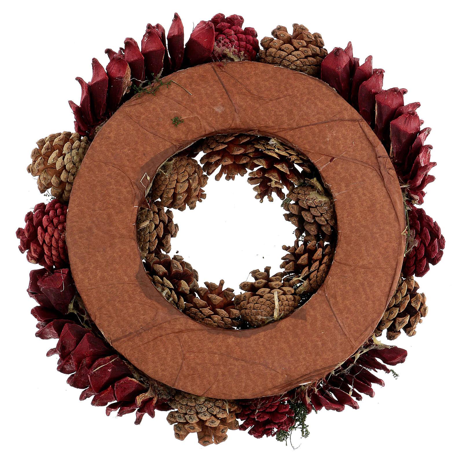 Kit per l'avvento corona pigne rosse punzone oro satinato candela rosso scuro ruvida 3